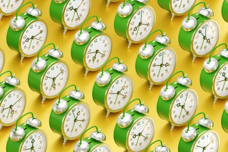 The Routine of Time. Arranged to rows vintage alarm clocks which are standing one after another on yellow reflective surface. 3D rendering graphics.