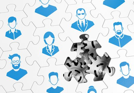 HR Management. Composed together hexagonal pieces of a jigsaw puzzle with pictured pictograms of staff persons and one of them is missing. 3D-rendering graphics on the theme of 'Business Management'. 版權商用圖片
