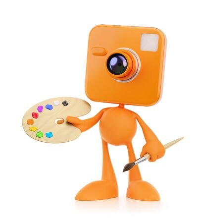 Cartoon Photographer-Artist. Bizarre cameraman as a funny personage holding in his hands an artist's painting palette and paintbrush. 3D-rendering graphics on the theme of Creative Occupations. Banco de Imagens