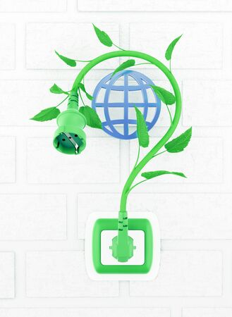 Green Electric Question Mark. Power extension cord in form of a question mark, represented as a plant stem, which is connected to a wall electrical socket. 3D rendering graphics on the theme of Ecological or Environmental Issues.