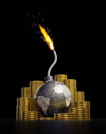 The Fear of a Global Financial Crash. A world globe in the form of a black spherical bomb with burning wick which are placed among of stacks of coins. 3D rendering graphics on the theme of Economical Crisises.