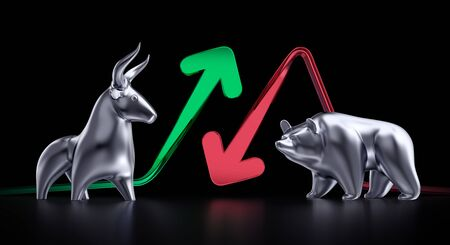 Bullish And Bearish Markets. Metallic statuettes of a bull and a bear in front of trending arrows which are in between of them and all this on black background. 3D rendering graphics on the theme of Stock Exchange Trading. Stock Photo