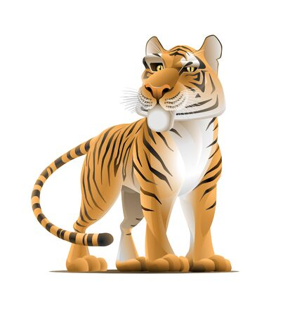 Cartoon Tiger. Vector illustration of a tiger pictured in a cartoon style.