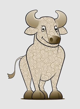 Cartoon Ox or Bull. Wooly bull pictured in a cartoon style.