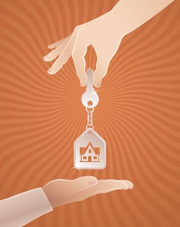 Home Sweet Home Key. Vector illustration on the subject of Real Estate Trading.