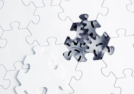 Behind the Jigsaw Puzzle. Metallic gears of an abstract mechanism are visible through a lost hexagonal piece of jigsaw puzzle. 3D-rendering graphics.
