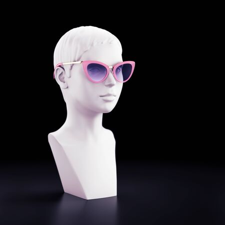 Fashionable Showcase Mannequin. Female mannequin made as a bust with wearing modern stylish sunglasses. 3D rendering graphics.