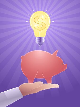 Investment Idea. The Dollar sign inside of a glowing electric lightbulb levitating above of a piggy bank, which is standing on a palm of a male hand. Vector illustration on the subject of Finance.