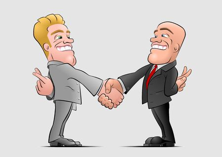 The deal. Two businessmans shaking hands and hiding crossed fingers behind their backs. Illustration on the theme of The Flip Side of a Business.