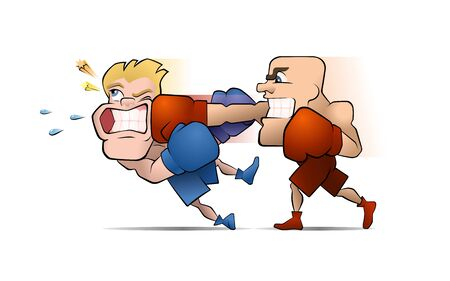 Half a Second Before the Knockout. Two boxing fighters, one of them punches the other. Illustration on the theme of Professional Combative Sports. Illusztráció