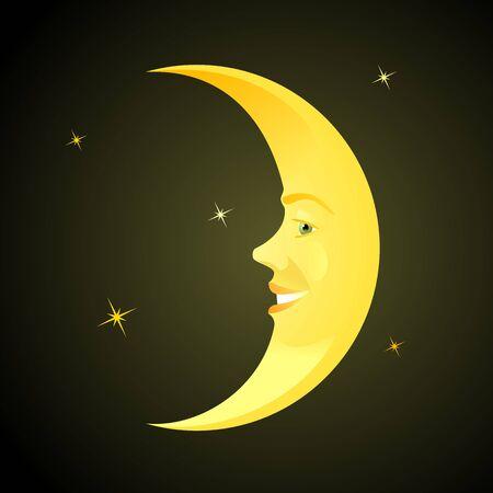 Smiling Moon. Cartoon personage of a children's fairy tale. Ilustração