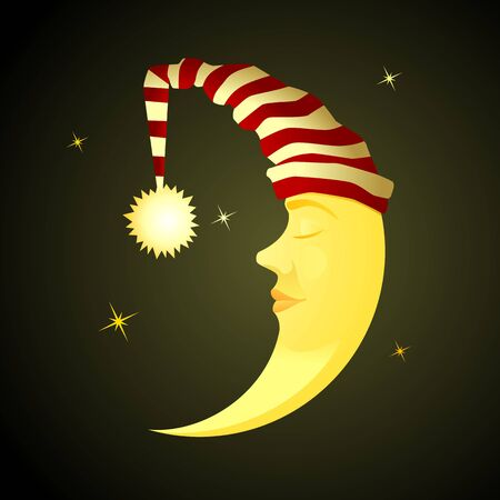Sleeping Moon. Cartoon personage of a children's fairy tale. Ilustração