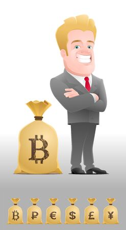 Successful Businessman. Cartoon man in business suit, standing near the sack full of money with a currency symbol (set of 6 variants).