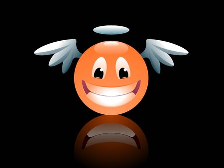 Smiley Angel. Funny cartoon smiley face looking like an angel.