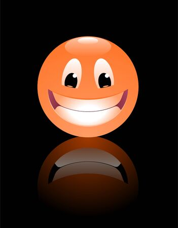 Smiley Face. Funny cartoon face in form of a ball. Ilustrace