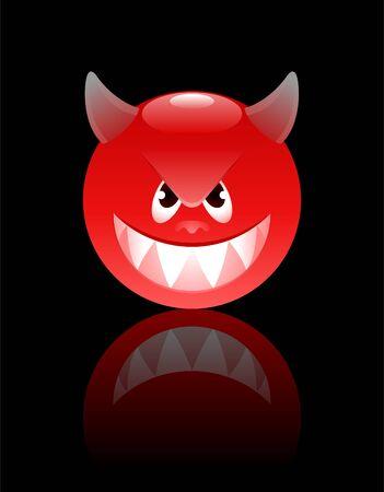 Smiley Devil. Cartoon smiley looking like a devil personage.