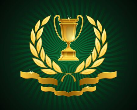 Emblem of an Award Cup. Golden sport prize framed with a laurel wreath and decorated ribbons on green striped background. 向量圖像