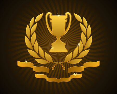 Emblem of an Award Cup. Golden sport prize framed with a laurel wreath and decorated ribbons.