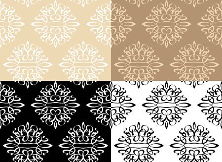 Wallpaper Ornament. Decorative seamless floral pattern in different color combinations.
