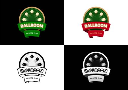 Ballroom - Billiard Club  Design. Different versions of graphic  in vector format on the subject of Billiards / Entertainment. Vectores