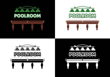 Poolroom - Billiard Club  Design. Different versions of graphic  in vector format on the subject of Billiards / Entertainment.