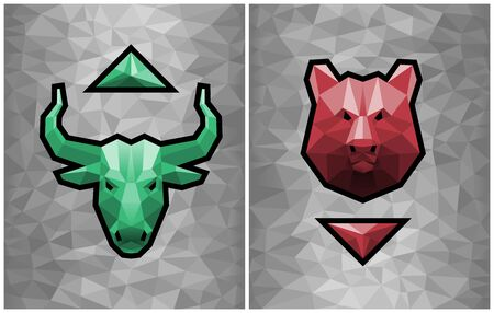 Bullish and Bearish Trends. Two graphic emblems of a bull's and a bear's heads formed from polygonal pattern together with trending arrows on a gray polygonal background.