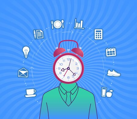 Time Management. Bizarre human with an alarm clock instead of a head in center of a circle formed from schedule pictograms on background of waved rays. Illustration on the subject of Success Business.