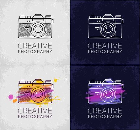 Creative Photography. Set of graphic designs in sketchy style on the subject of