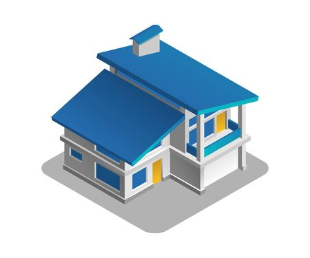Private House. Isometric view at exterior of a two-storey private house.