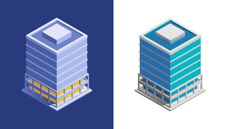 Business Building. Isometric view at exterior of a modern building, represented in different color variations.
