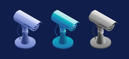 CCTV Camera. Isometric view at a model of a surveillance camera, represented in different color variations.