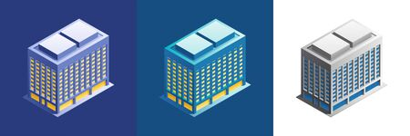 Office building. Exterior of an urban building, represented in isometric projection and different color variations.