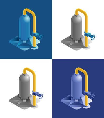 Gas storage station. Equipment part of an industrial gas distribution system in form of a tank with a tube branch and a valve, which are represented in isometric view and different color variations. Vectores