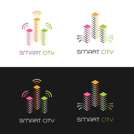 Smart City Emblem. Set of designs of graphic pictograms on the subjects of