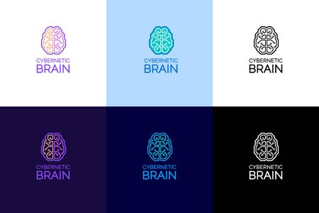 Cybernetic Brain Emblem. Set of  designs on the theme of