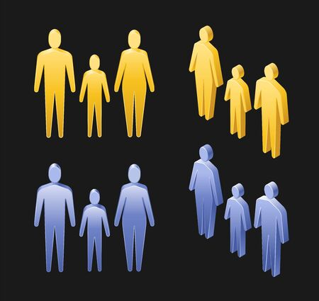 Abstract People. Isometric view of symbolic human figures with different genders and ages: adult male, adult female and child. Иллюстрация