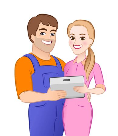 Happy Young Couple. Cartoon young male and female characters which are standing together and hugging close to each other, holding computer tablet and looking directly at us.