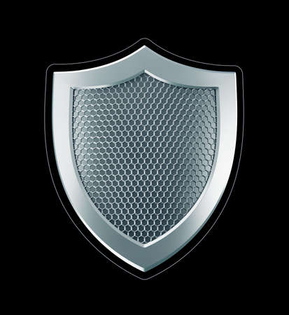 Cybersecurity Shield. Designed in technological style metallic shield isolated on black background. 3D-rendering graphics.