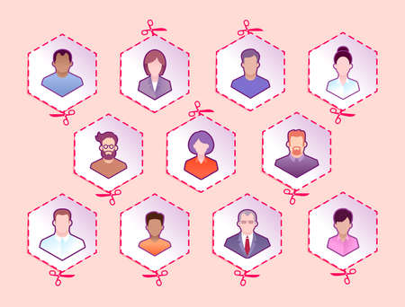 Social Isolation or Social Distancing. A group of pictograms of human portraits with different genders and ages pictured on hexagonal srickers. Illustration on the theme of Social Issues.