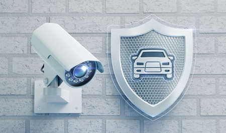 Surveillance Camera System for a Car Security. Surveillance camera mounted on a brick wall beside of a metallic shield with a car emblem in center of it. 3D rendering graphics.