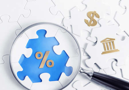 Searching for an Interest Rate of a Deposit. Searching for an Interest Rate of a Deposit. 3D-rendering graphics on the theme of Financial Savings.