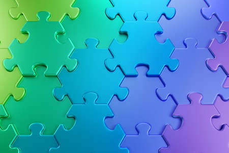 Geometric Pattern of a Jigsaw Puzzle. Close-up view of varicoloured hexagonal pieces of a jigsaw puzzle composed to color gradient from green to purple through blue. 3D-rendering graphics. Imagens