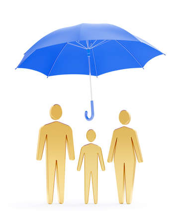 Family Life Insurance. Three symbolic human figures of family members, which are standing under the blue umbrella while it is freely levitating above them in the air. 3D-rendering graphics.