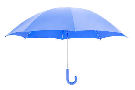 Blue Unfolded Umbrella. Hanging in the air blue colored handheld umbrella in opened state which is isolated on white background. 3D-rendering graphics.