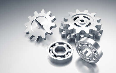 Technical Machine Parts. Graphic composition formed from a few steel gears together with a couple of ball bearings and all of them are placed on reflective surface. 3D-rendering graphics.