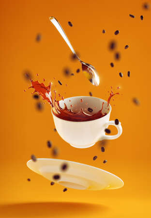 Pure Energy Splash. Levitating coffee set with splashes of pouring out coffee drink in surrounding of scattered coffee beans are hanging in the air on yellow background. 3D rendering graphics.