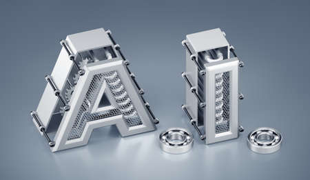 Artificial (Machine) Intelligence. Designed in a steampunk style capital letters are composed into the abbreviation of AI on reflective background. 3d rendering graphics in isometric projection.