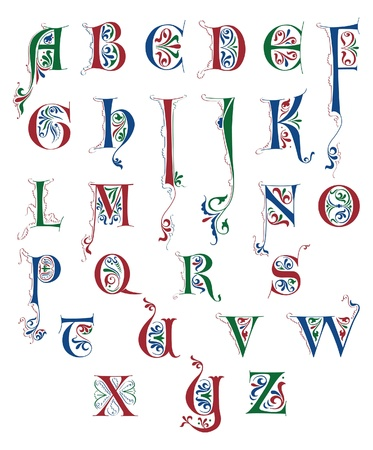 흰색에 고립 된 중세 서체의 알파벳