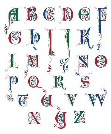 Alfabeto en estilo caligráfico Medieval aislado en blanco Ilustración de vector