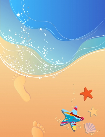 Beach, waves, surf, sand and footprints Vector